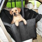 GHB Coprisedile Amaca Copertura Impermeabile con Doppio-Zip per Sedile Posteriore Auto Universale per Cane Animali Domestici Pet ecc – Nero